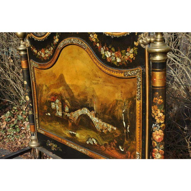 19th Century Antique Hand-Painted Mother of Pearl Inlaid Single Beds - a Pair For Sale - Image 4 of 11