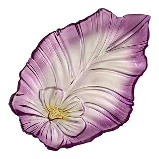 Vintage French Purple Edge Floral Glass Platter For Sale