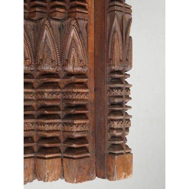 Metal Antique Teak Carved Wood Door Frame For Sale - Image 7 of 12