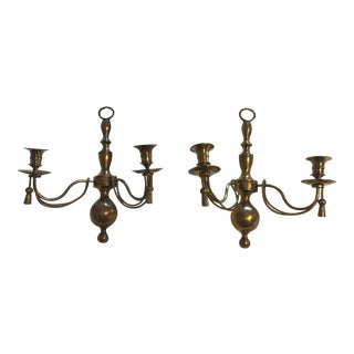 Two Light Brass Rope & Tassel Wall Sconces - a Pair