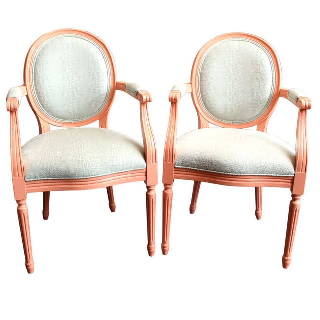 Vintage Painted Louis XVI Style Arm Chairs, Pair For Sale - Image 11 of 11