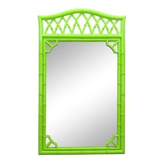 Lovely Bright Green Faux Bamboo Mirror For Sale