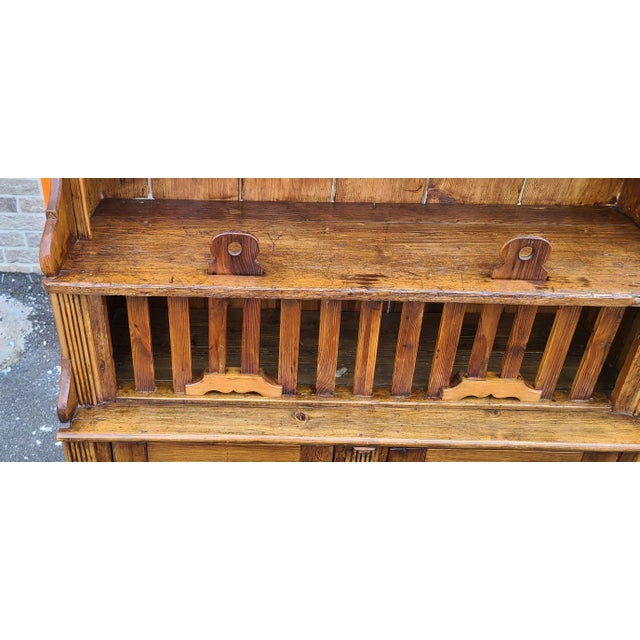 Wood Antique 19th Century Irish Pine 2 Part Chicken Coop Cupboard Cabinet Hutch For Sale - Image 7 of 13