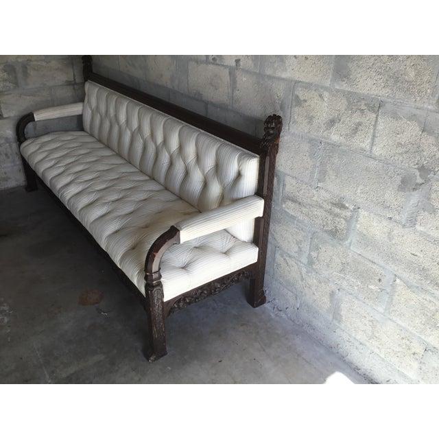 Art Deco 1800s Vintage Lion Head Carving Wood Sofa For Sale - Image 3 of 13