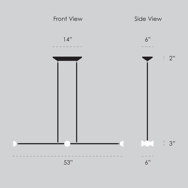 Contemporary Matte Black Linear McKenzie and Keim Apollo Four LED Chandelier For Sale - Image 10 of 12