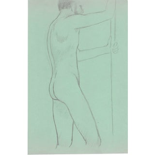 Standing Male Nude Drawing by James Bone 1970s For Sale
