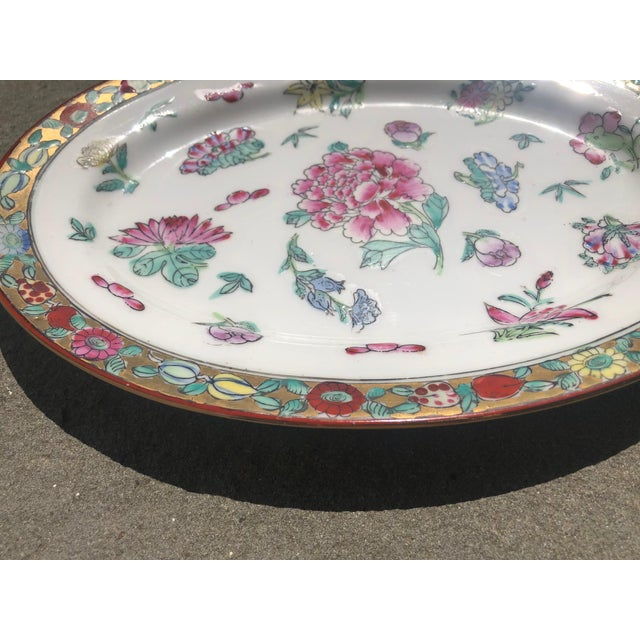 White Colorful Floral Gilt Chinoiserie Peony Platter For Sale - Image 8 of 9
