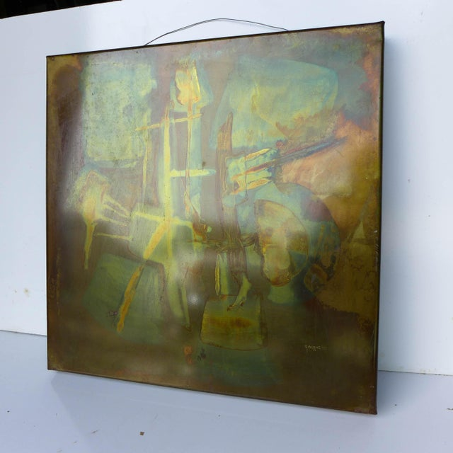 Vintage Modern Metallic Abstract Art. Acid etched on copper. Giovenetti '73. 20 x 20 inches. Signed.