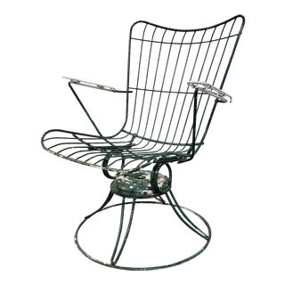 1950s Vintage Homecrest Wire Rocking and Swivel Outdoor Chair For Sale