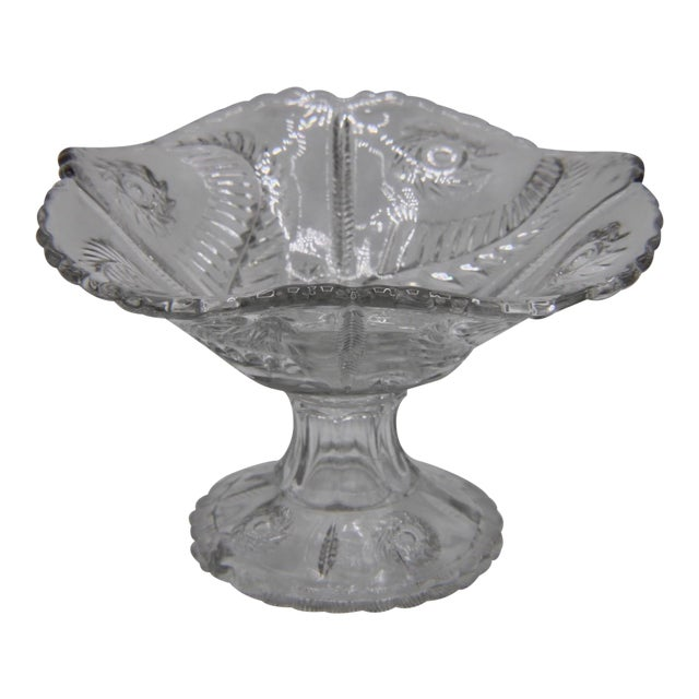 Mid-Century French Crystal Cut Glass Compote For Sale