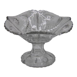Mid Century French Cut Glass Crystal Decorative Compote Bowl For Sale