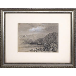 19th Century English Graphite & Watercolor Landscape Drawing For Sale