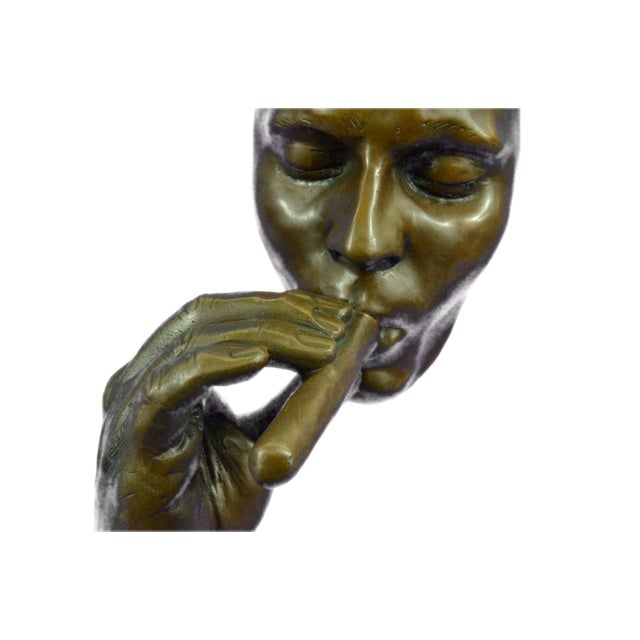 Gold Man Smoking Cigar Bronze Sculpture on Marble Base For Sale - Image 8 of 11