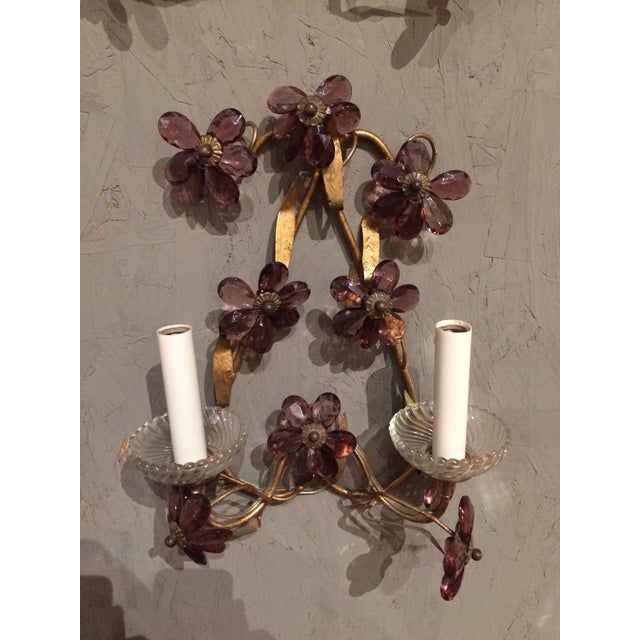 Italian Italian Gilt Metal Wall Sconces with Amethyst Crystals - A Pair For Sale - Image 3 of 6