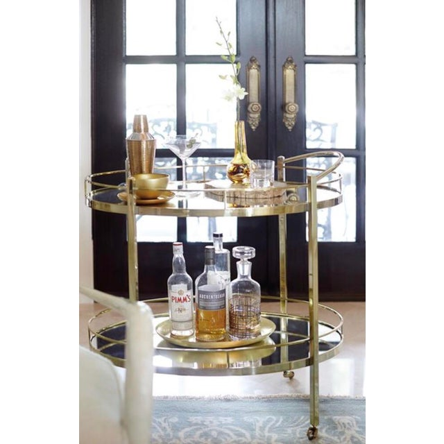 Contemporary Contemporary Brass Wine/Tea Cart For Sale - Image 3 of 4
