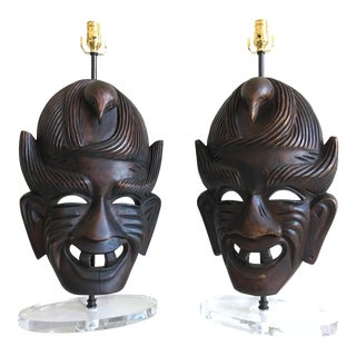 African Tribal Mask Lamps - A Pair For Sale