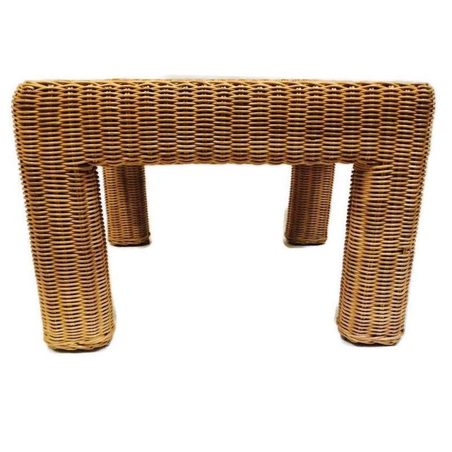 Vintage Wicker Footstool Rattan Ottoman For Sale In Richmond - Image 6 of 12