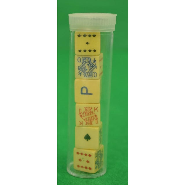 "Mark Cross (4) Tube Dice Gaming Set in Leather Case Sz: 4 3/4""H x 3 3/4""Diameter"
