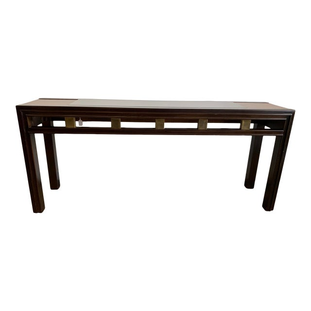 1970s Mixed Wood and Glass Sofa Console Table For Sale