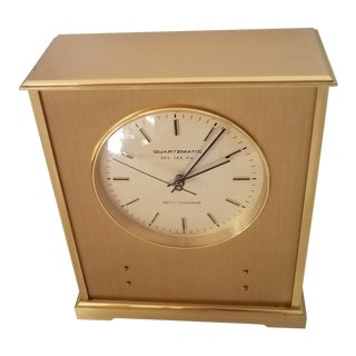 Seth Thomas Art Deco Swiss Made Quartz Matic Brass Parlor Clock For Sale