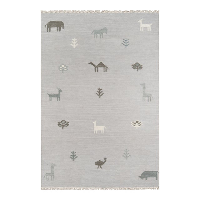 Erin Gates by Momeni Thompson Porter Grey Hand Woven Wool Area Rug - 7′6″ × 9′6″ For Sale