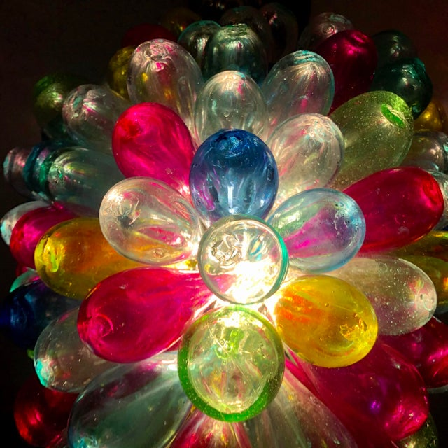 Recycled Hand Blown Glass Gemstones Color Chandelier For Sale - Image 11 of 12