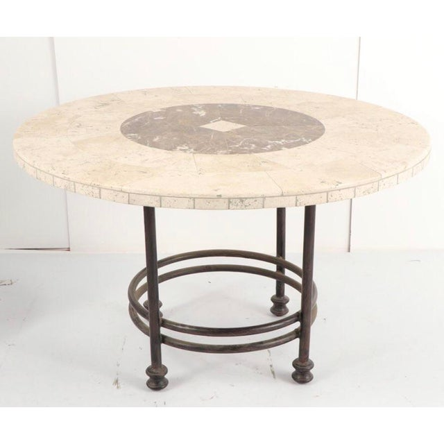 20th Century Mediterannean Marble and Stone Dining or Large Coffee Table For Sale - Image 4 of 4
