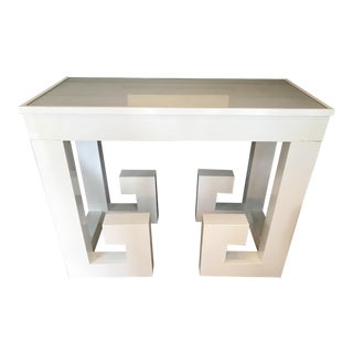 Vintage White Lacquered Greek Key Console