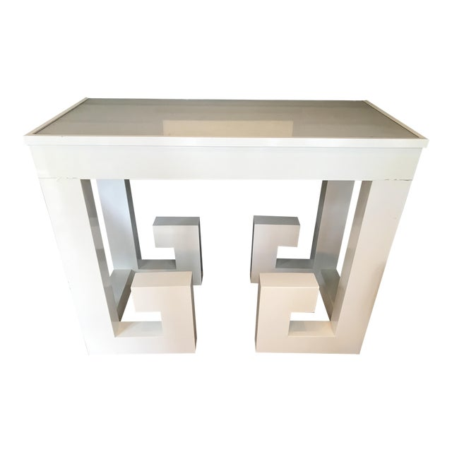 Vintage White Lacquered Greek Key Console - Image 1 of 5