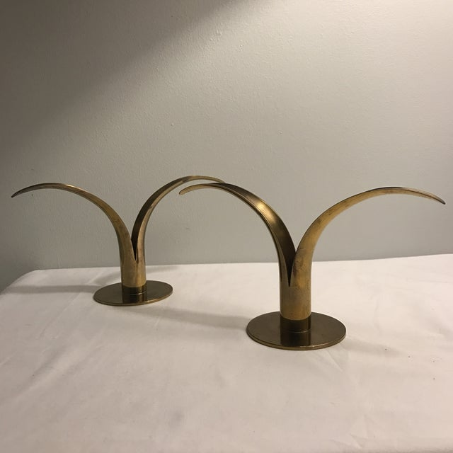 Hollywood Regency Ystad Metal Swedish Lily Candleholders - A Pair For Sale - Image 3 of 11