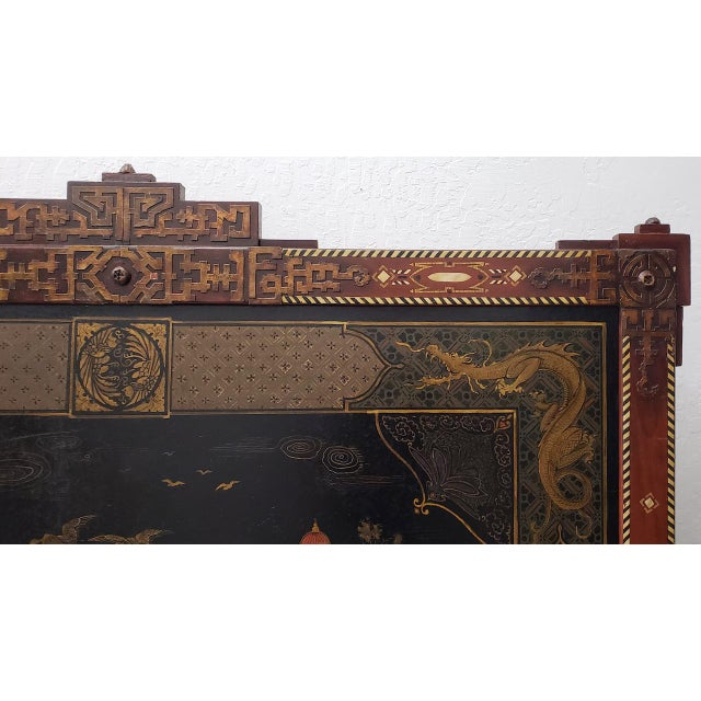 1940s Vintage Chinese Carved & Painted Fire Screen C.1940s For Sale - Image 5 of 11