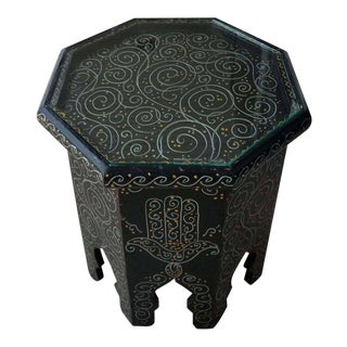 Moroccan Small Hexagonal Hand-Painted Black Side Table