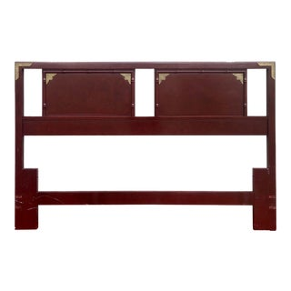 Thomasville Chinoiserie Faux Bamboo Queen Headboard With Brass Accents For Sale