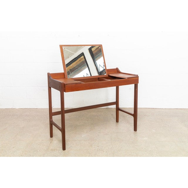 Brass Danish Modern Teak Vanity Table For Sale - Image 7 of 12