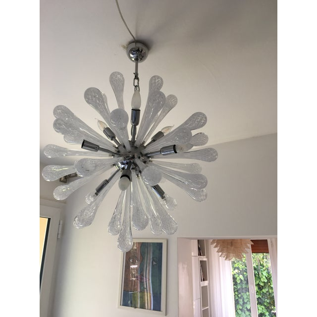 White & Transparent Murano Glass Sputnik Chandelier For Sale - Image 6 of 7