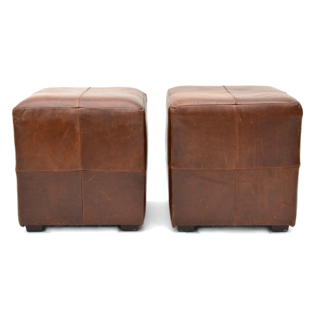 Mitchell Gold for Restoration Hardware Leather Cube Ottoman Pair For Sale In Los Angeles - Image 6 of 6