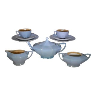 Mid-Century Modern Lusterware Blue Tea Set - 9 Piece Set For Sale