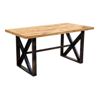 Custom Dining Table With Burnt Golden Patina and Plank Wood For Sale