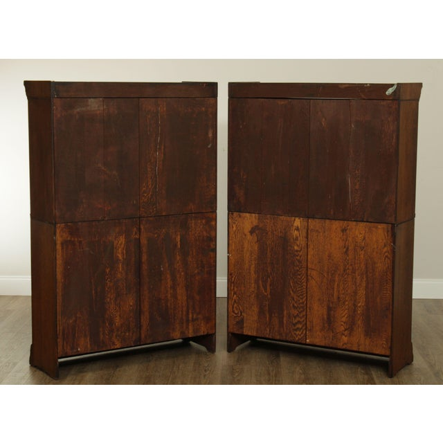 1900 - 1909 Danner Antique Oak Stacking Sliding Door Bookcases (B) - a Pair For Sale - Image 5 of 13