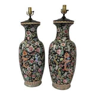 Large Antique Qing Daoguang Chinese Vase Lamps - a Pair For Sale