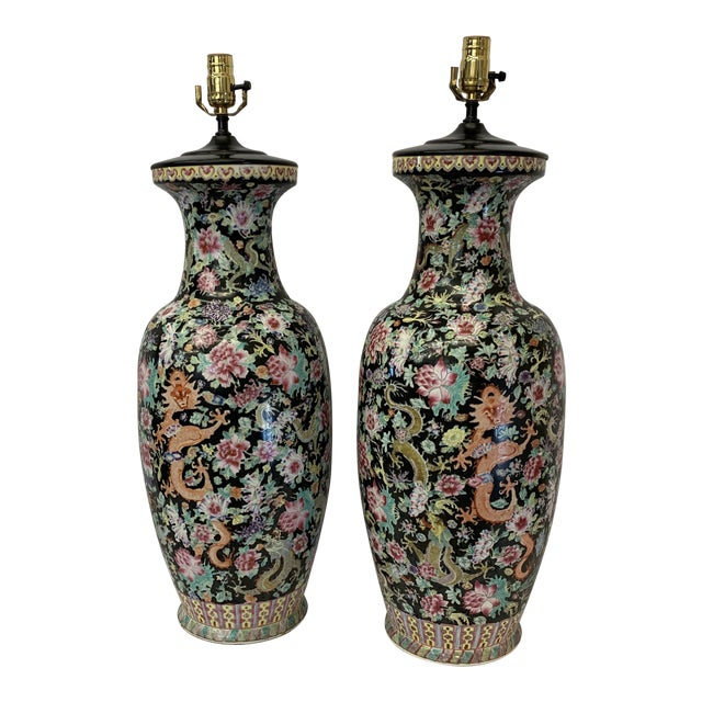 Massive Antique Qing Daoguang Chinese Vase Lamps - a Pair For Sale