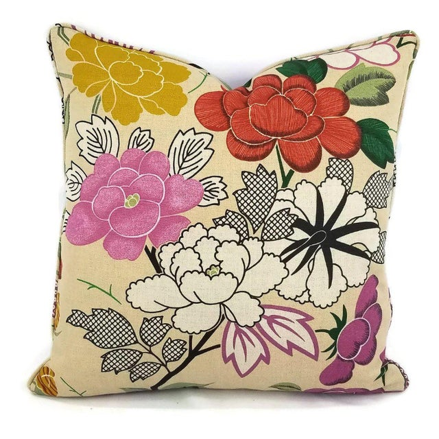 Red Manuel Canovas Misia Linen Printed Self-Welt Pillow Cover For Sale - Image 8 of 8