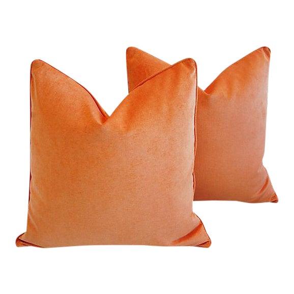 """24"""" Custom Tailored Chic Tangerine Orange Velvet Feather/Down Pillows - Pair For Sale"""