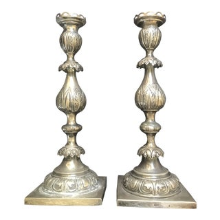 19th Century Russian Silver Candlesticks - a Pair For Sale