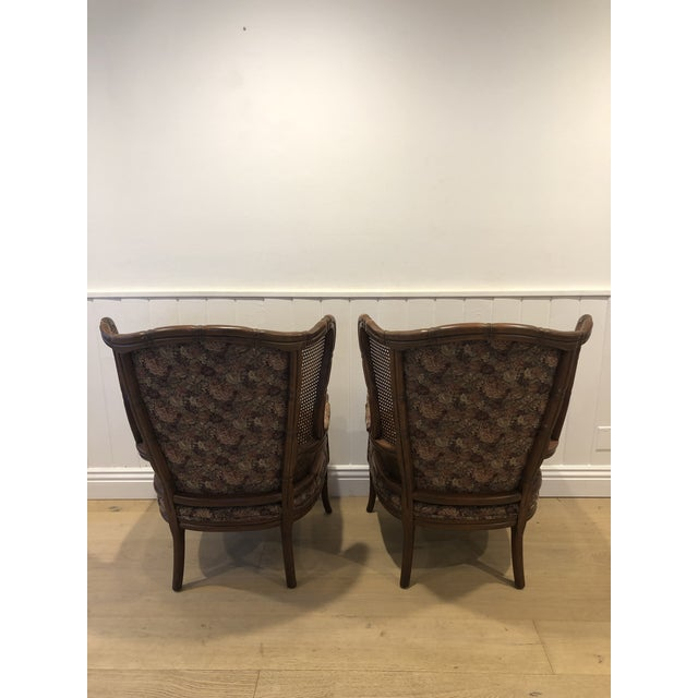 Ethan Allen 1990s Vintage Ethan Allen Faux Bamboo Rattan Cane Wingback Arm Chairs- A Pair For Sale - Image 4 of 12