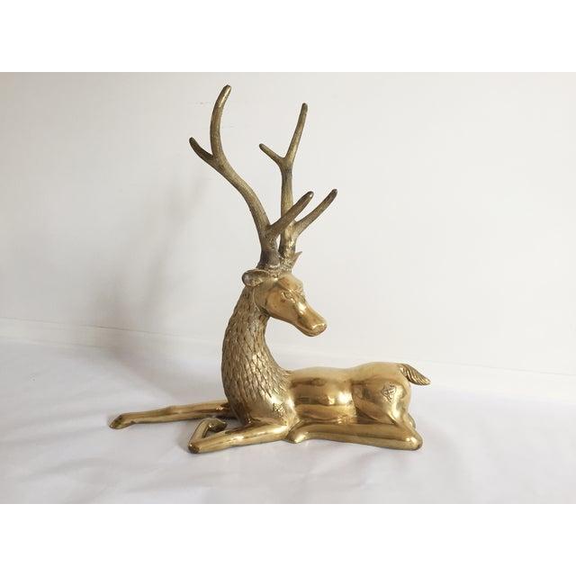 Ornate Seated Brass Deer Figure - Image 2 of 3