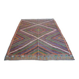 "Vintage Turkish Rug Hand Woven Wool Braided Area Rug Kilim - 6'9"" X 8'11"" For Sale"