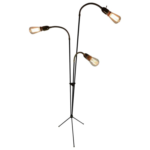 Mid-Century Articulating Tripod Floor Lamp From Denmark For Sale