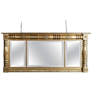 Antique American Empire Gold Gilt Triptych Over Mantel Mirror, 19th Century For Sale