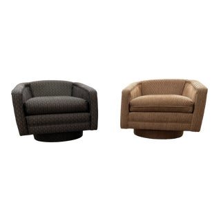 Milo Baughman Style Swivel Club Chairs For Sale